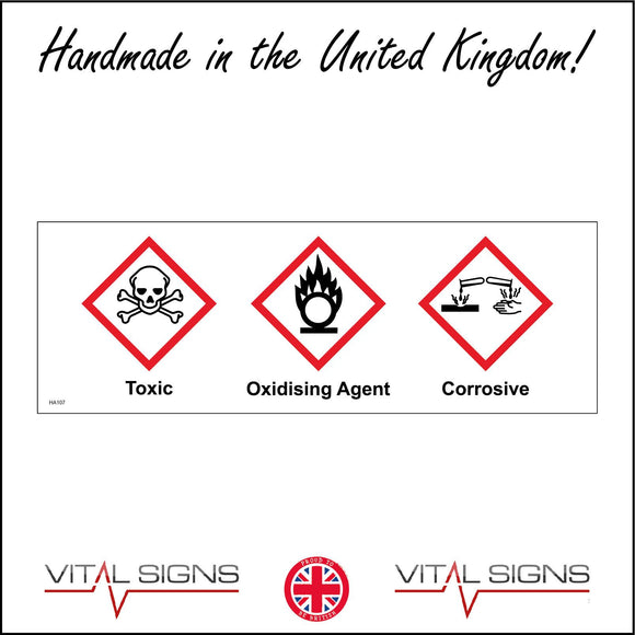 HA107 Toxic Oxidising Agent Corrosive Sign with Skull & Crossbones Fire Test Tubes Hand Fire