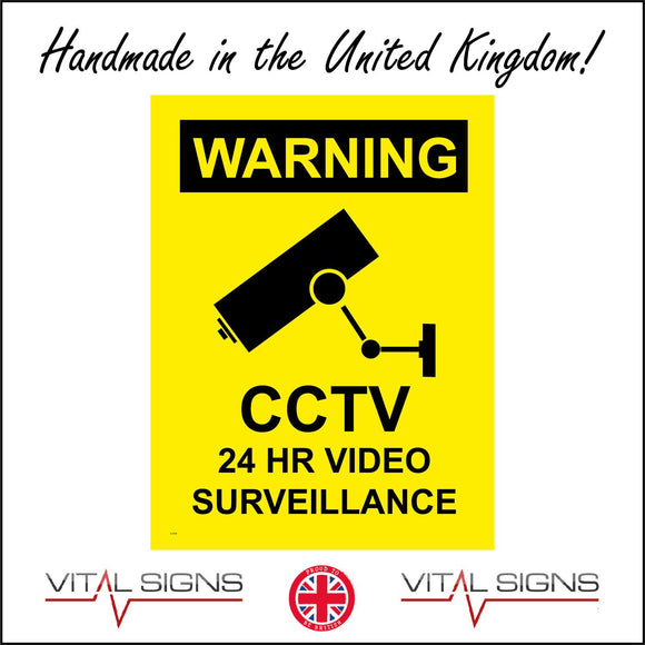 CT018 Warning Cctv 24 Hr Video Surveillance Sign with Camera