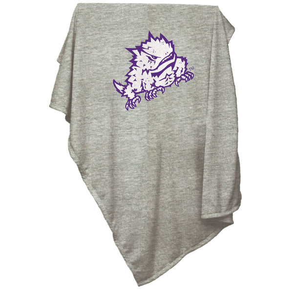 TCU Horned Frog Gray Sweatshirt Blanket