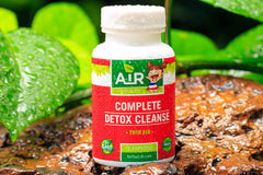 Air Thai Life Detox Complete Detox Cleanse Supplement called Thin Air. Closeup photo of the product bottle.