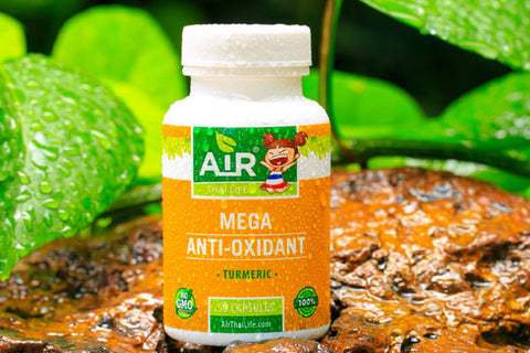 Air Thai Life Mega Anti-Oxidant Turmeric Superfood. Photo of the Turmeric product label.