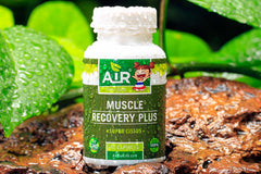 Air Thai Life Muscle Recovery Plus Super Cissus capsules. Incredible muscle recovery herb. Photo of product taken in the beautiful Thailand jungle.