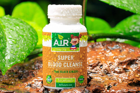 Air Thai Life Super Blood Cleanse Thai Black Ginger. Photo of the product taken in the beautiful Thailand jungle.