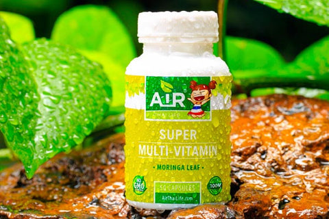 Air Thai Life Superfood Super Multi Vitamin Moringa Oleifera Leaf. This is a photos of the product taken in the beautiful Thailand jungle.
