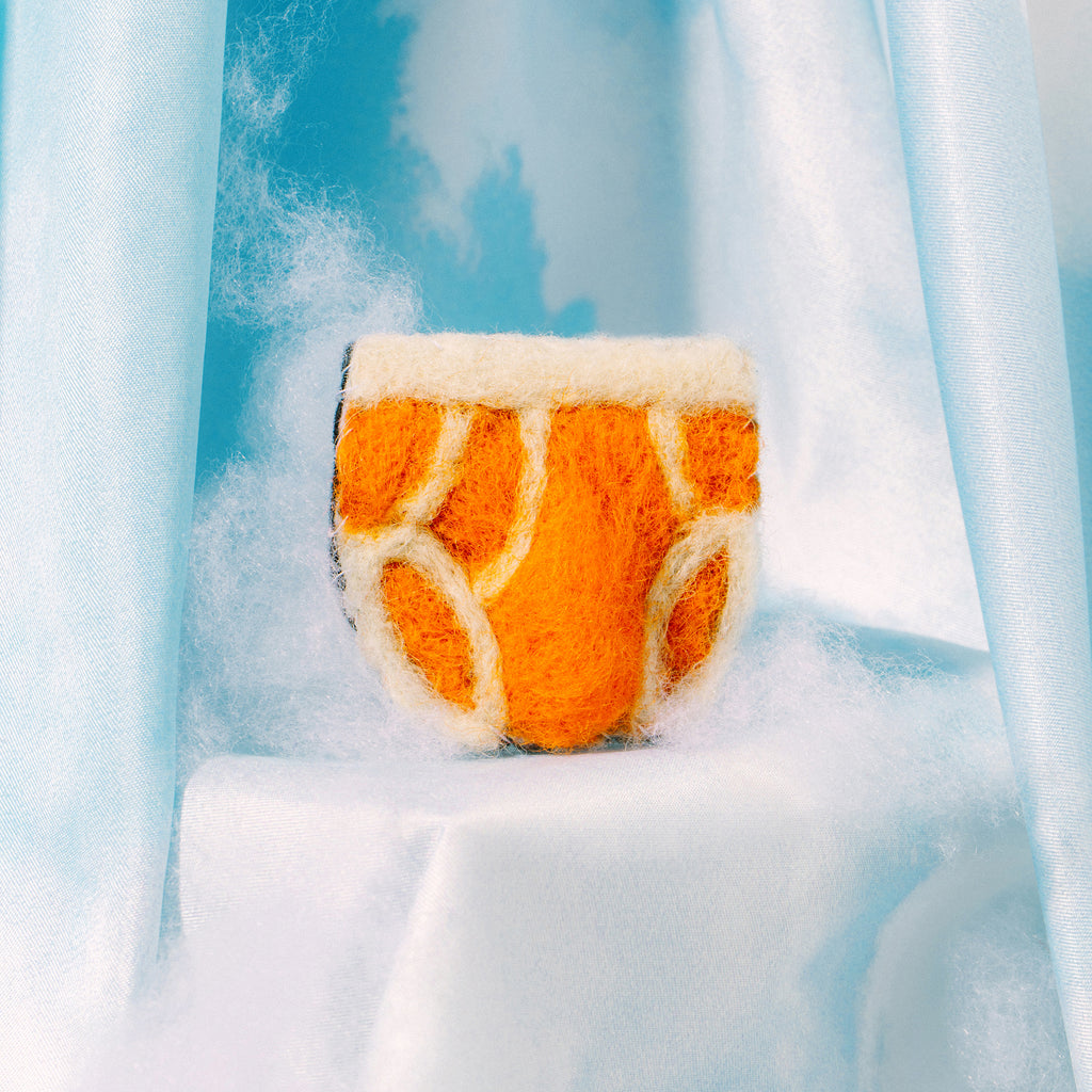 Keep It Brief Felt Pin - Orange