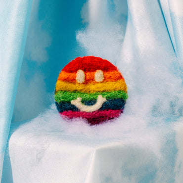Smiley Pride Felt Pin