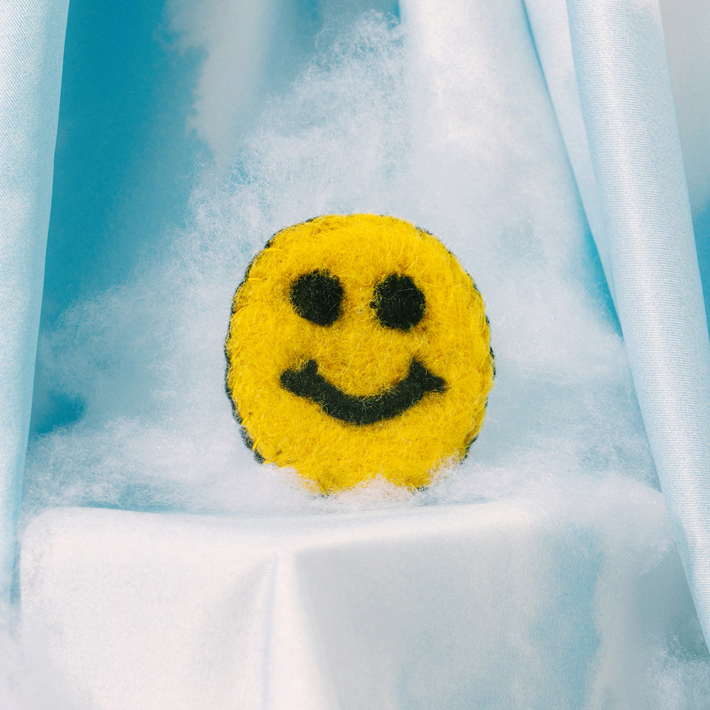 Yellow Smiley Felt Pin
