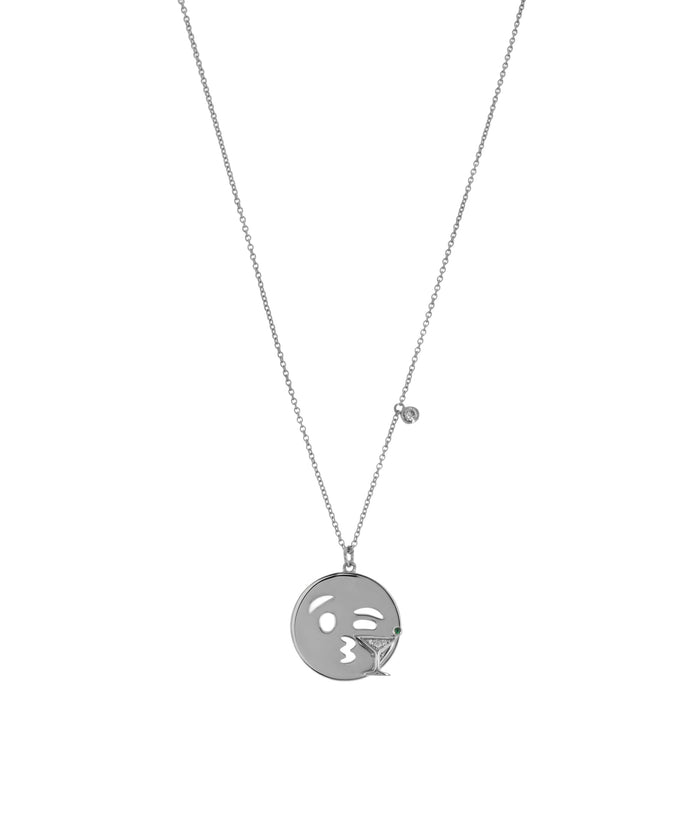 EMOJI NECKLACE - MARTINI - SILVER - Fala Jewelry