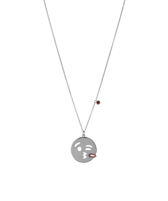 EMOJI NECKLACE - KISS - SILVER - Fala Jewelry