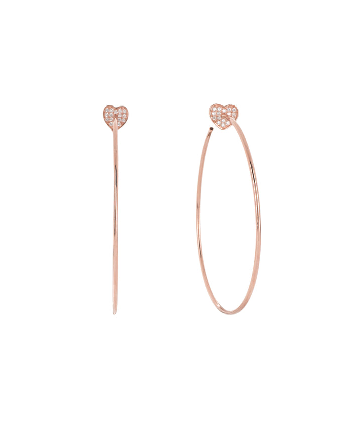HEART HOOP EARRINGS - ROSE GOLD