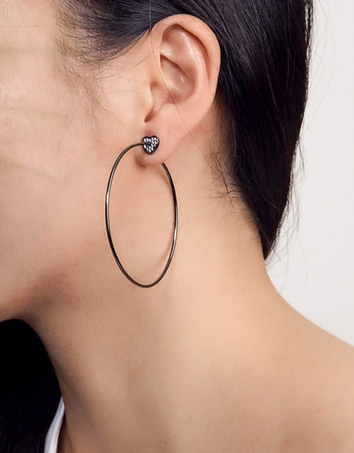 HEART HOOP EARRINGS - BLACK - Fala Jewelry