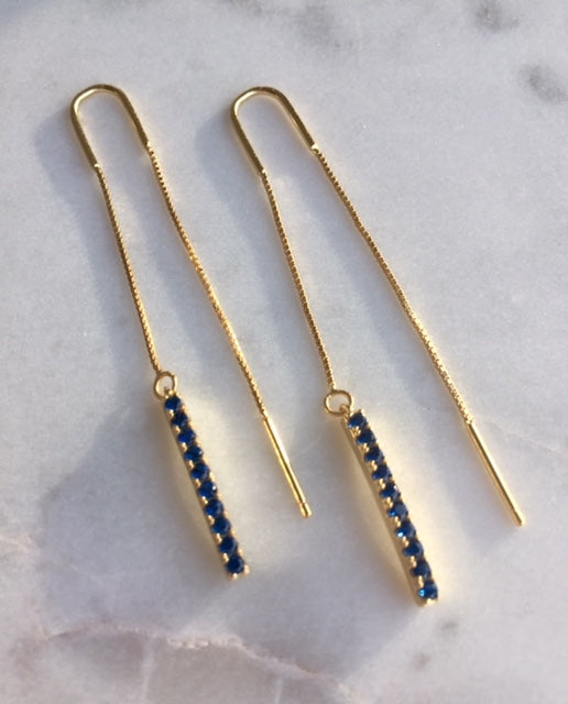 BAR THREADER BLUE EARRINGS - GOLD - Fala Jewelry