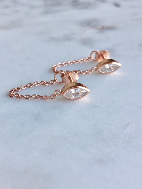 MARQUEE CHAIN EARRINGS - ROSE GOLD - Fala Jewelry