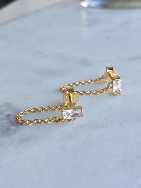 CHAIN STUD EARRINGS - GOLD - Fala Jewelry