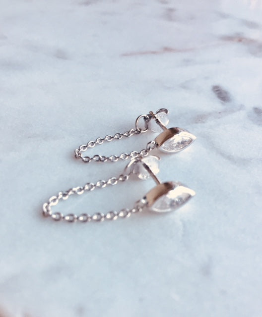 MARQUEE CHAIN EARRINGS - SILVER - Fala Jewelry