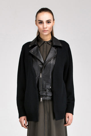 Lea Detachable Leather Vest with Wool Cardigan