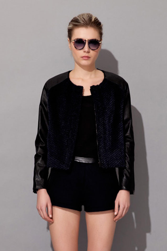 Z Jocelyn Leather Bomber Jacket - Fala Jewelry