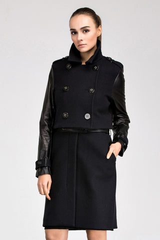 Anna Leather Two-Piece Detachable Trench Coat/Dress
