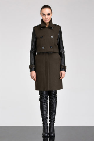 Anna Leather Two-Piece Detachable Trench Coat Dress