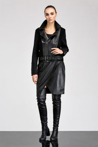 Bella Wrap Leather Skirt