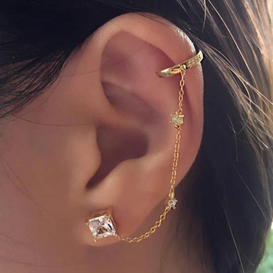 EAR CUFF CHAIN EARRINGS - GOLD - Fala Jewelry