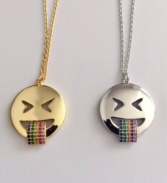 Emoji Necklace - Rainbow - SILVER - Fala Jewelry