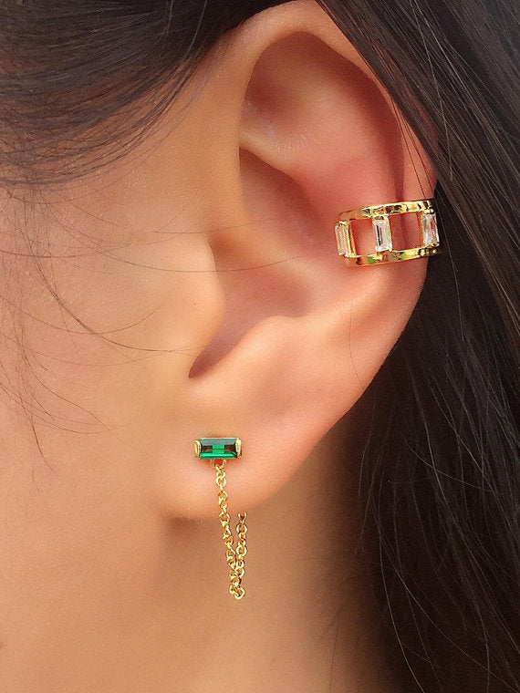 CHAIN GREEN STUD EARRINGS - GOLD