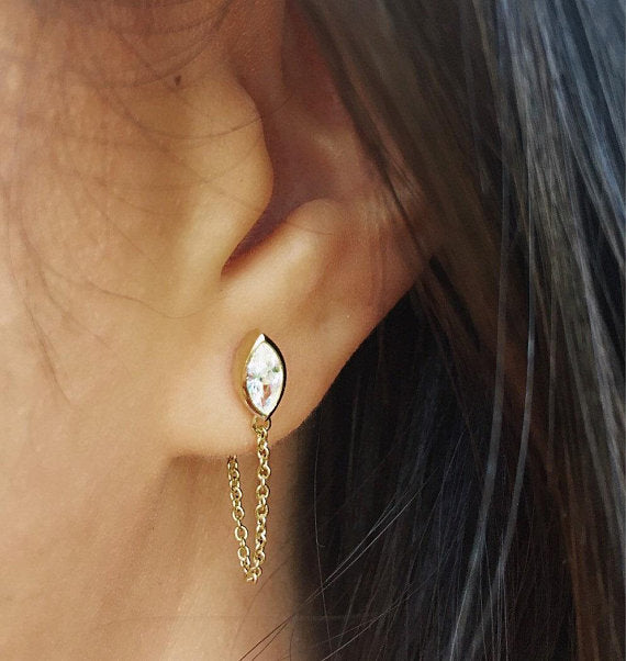MARQUEE CHAIN EARRINGS - GOLD - Fala Jewelry