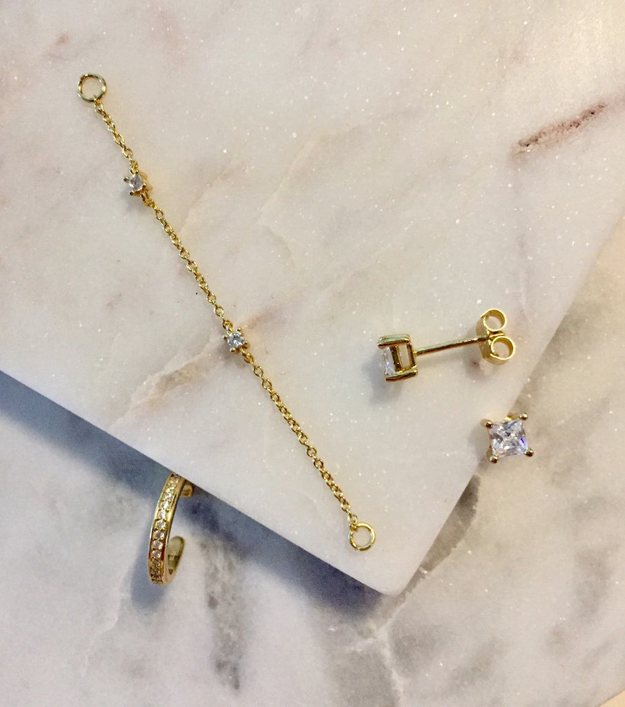 2aa39b8afce EAR CUFF CHAIN EARRINGS - GOLD