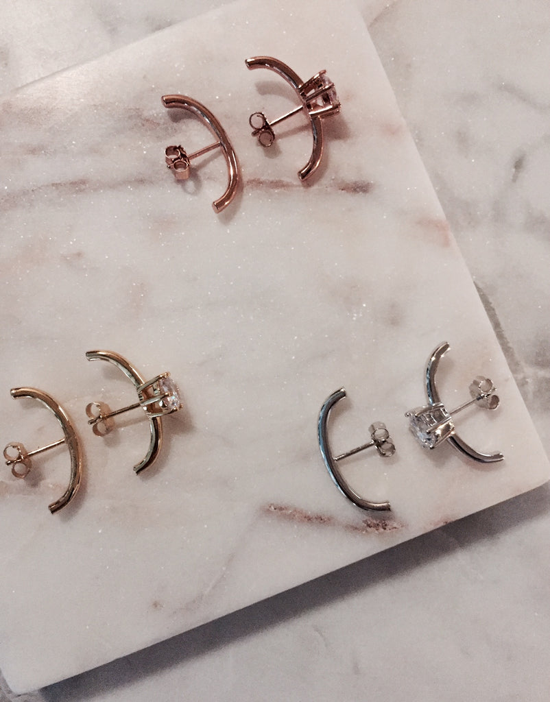 UNEVEN BAR EARRINGS - ROSE GOLD - Fala Jewelry