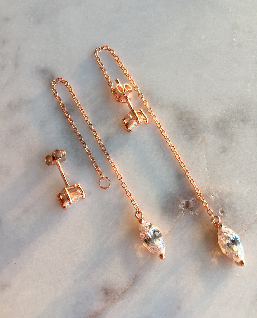 MUTI THREADER EARRINGS - ROSE GOLD - Fala Jewelry