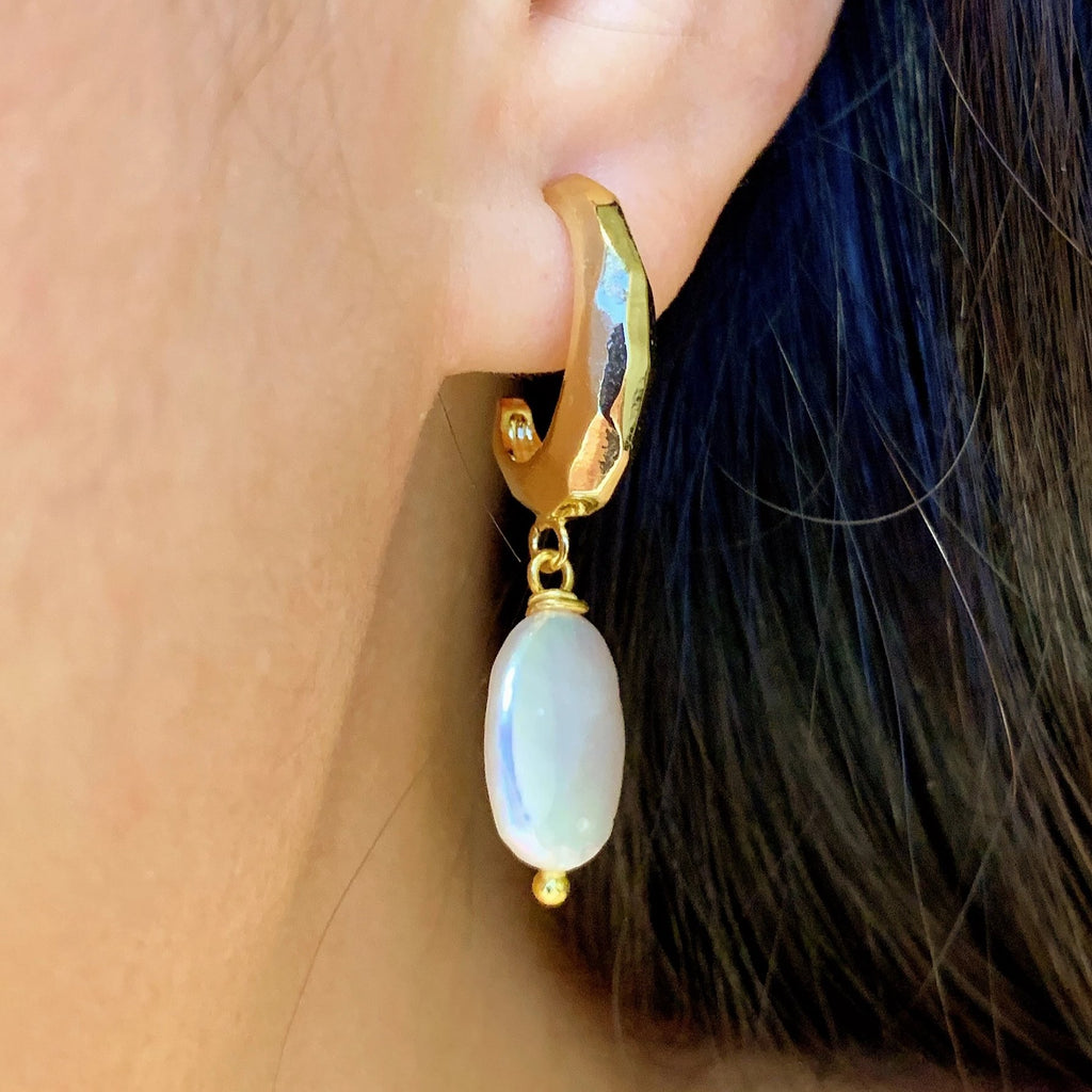 Pearl OVAL Hoop Earrings