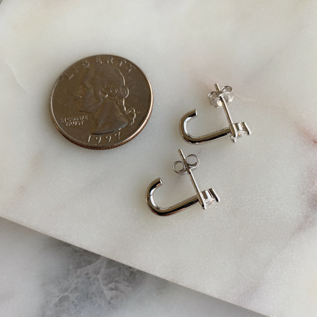 SUSPENDER EARRINGS - SILVER