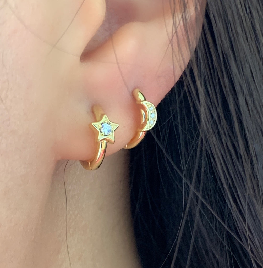 Star and Moon Hoop Earrings