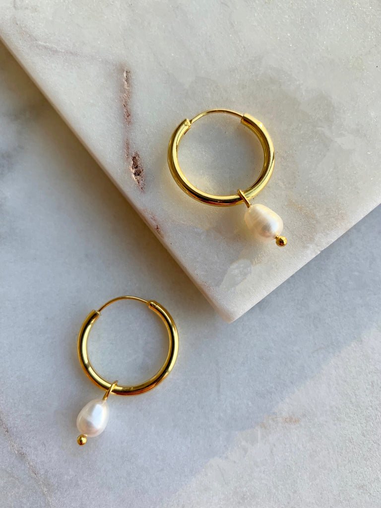 PEARL HOOP EARRINGS - 01