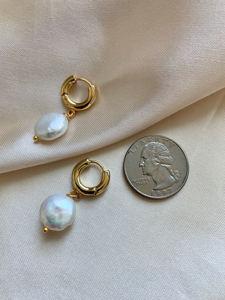 Pearl Hoop Earrings - 12