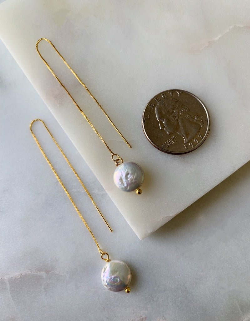 COIN PEARL THREADER EARRINGS