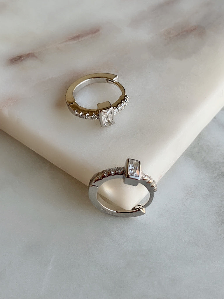 MINI CZ HOOP EARRINGS - SILVER