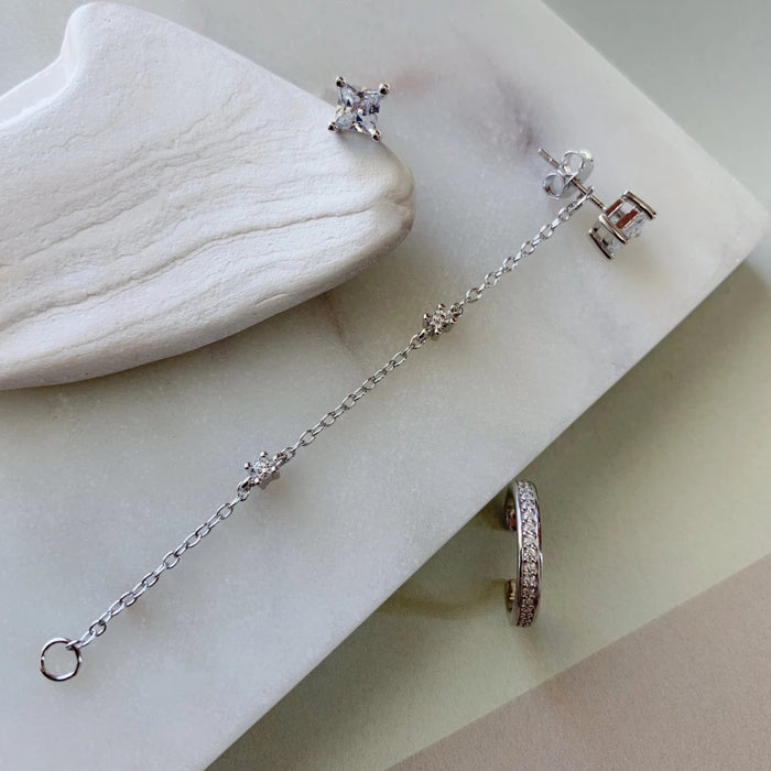 EAR CUFF CHAIN EARRINGS - SILVER