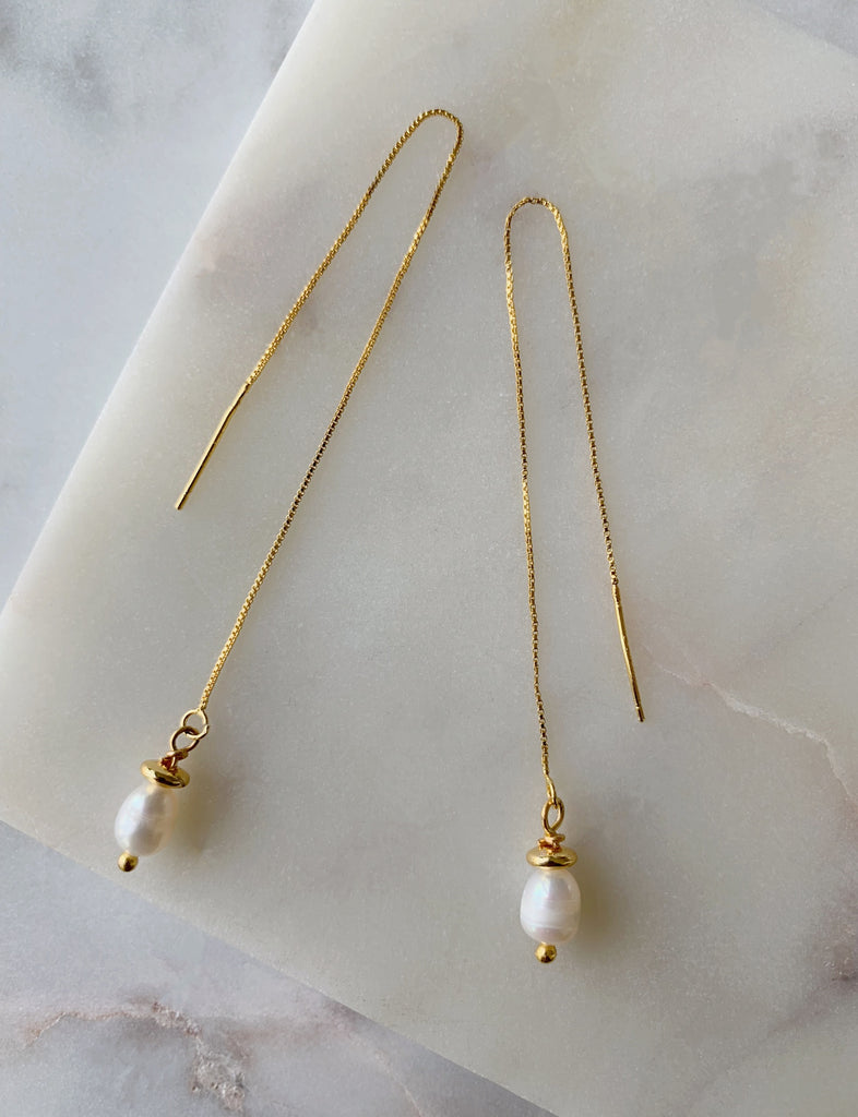 PEARL THREAD EARRINGS - 08