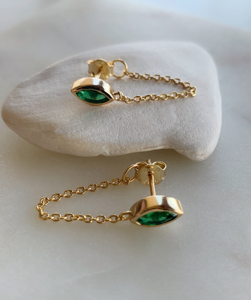 MARQUEE CHAIN GREEN EARRINGS - GOLD