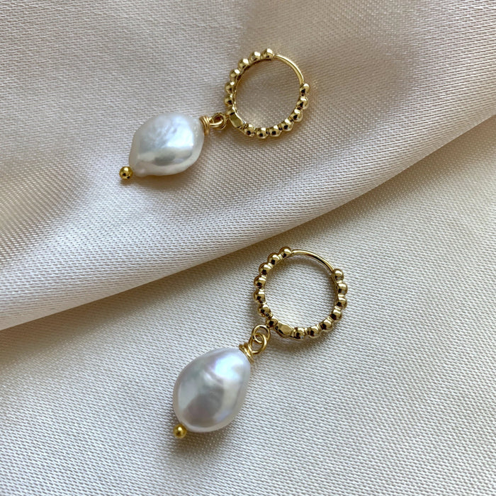 Pearl Hoop Earrings - 11