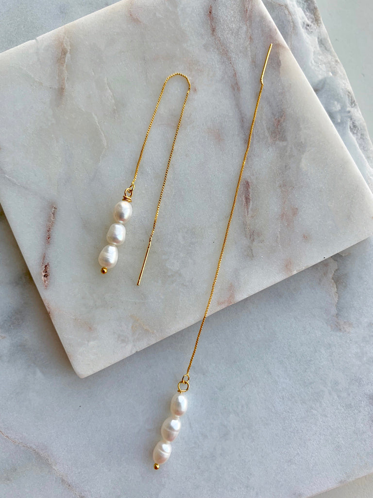 PEARL THREAD EARRINGS - 05