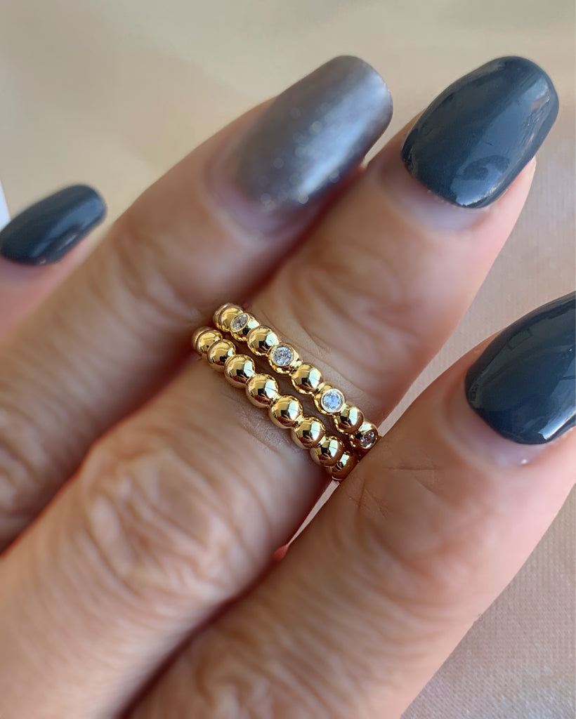 Dot Stone Ring - Gold