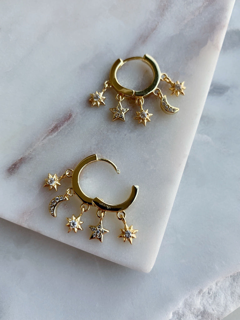 Charm Hoop Earrings - GOLD - Fala Jewelry
