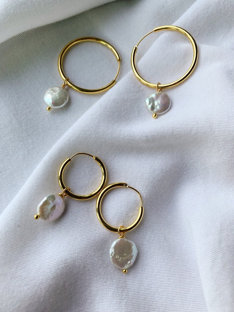 Pearl Hoop Earrings - 07