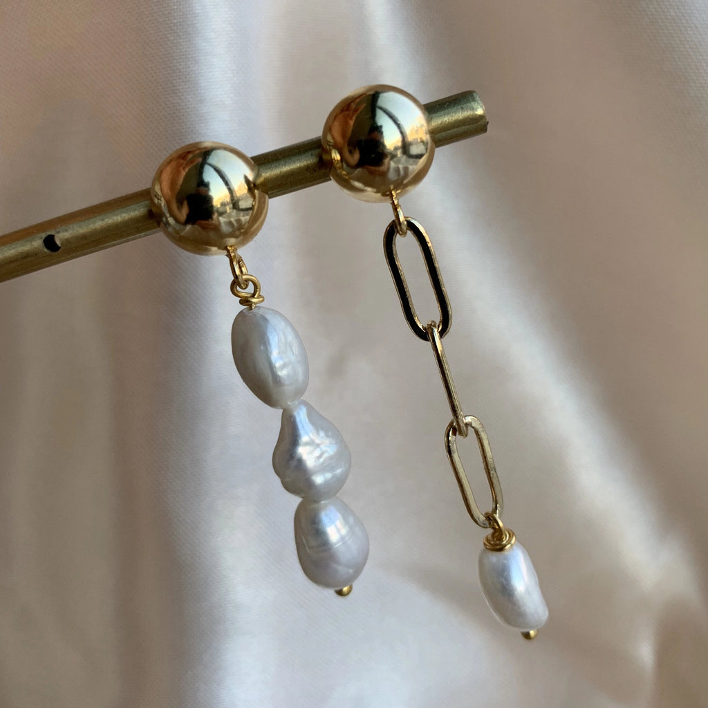 Pearl Link Chain Earring - Gold