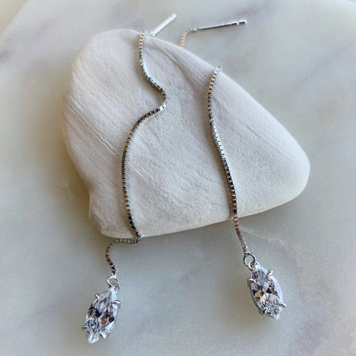 THREADER MARQUEE EARRINGS - WHITE GOLD