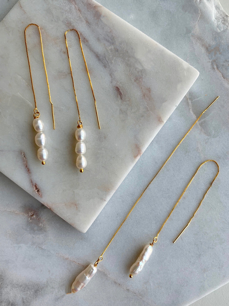 LONG PEARL THREADER EARRINGS