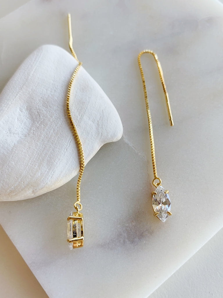 THREADER MARQUEE EARRINGS - GOLD